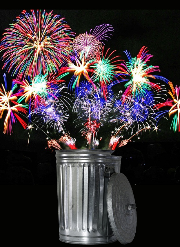 Holiday Trash Imaged of trash can and fireworks